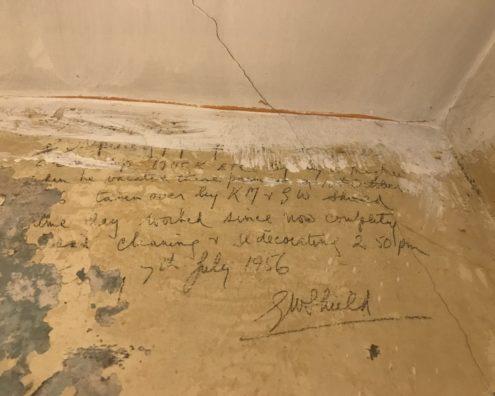 under the wallpaper at The Star Inn, Harbottle, Northumberland
