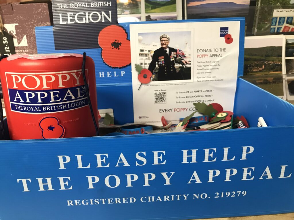 Poppy appeal at The Star Inn in Harbottle, near Rothbury, Northumberland