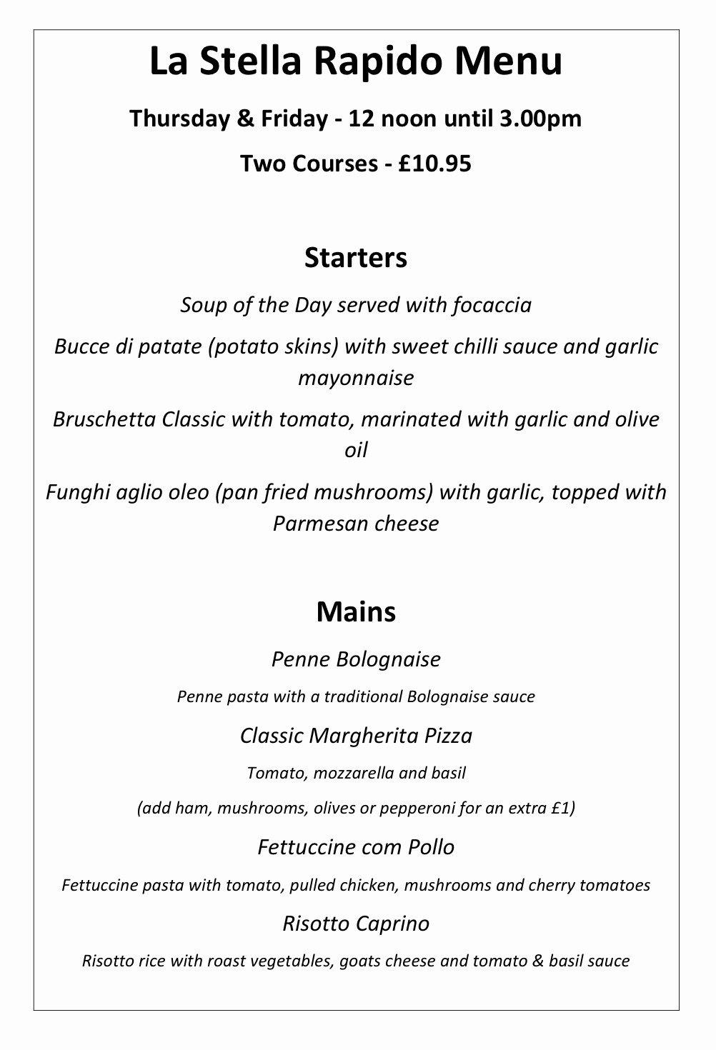 The Star Inn in Harbottle in Northumberland - Rapido Menu