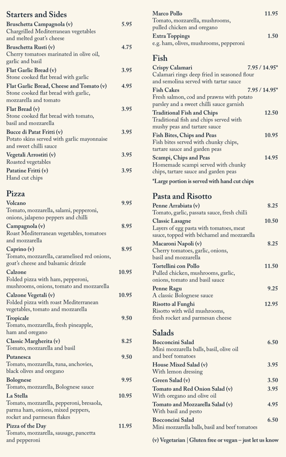 Pizzeria Menu at The Star Inn
