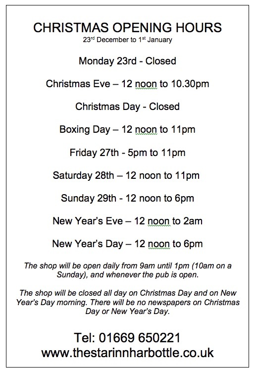 christmas opening hours - the star inn harbottle in northumberland