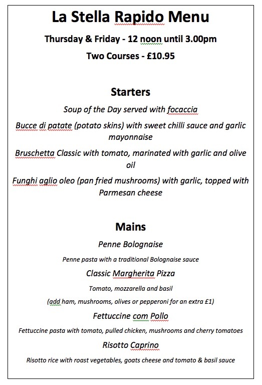 La Stella Rapido Menu at The Star Inn, Harbottle