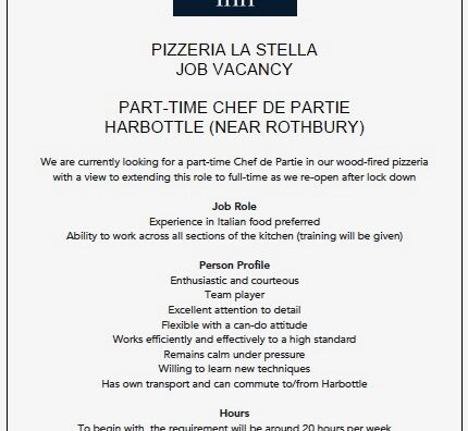 Job vacancy - chef de partie